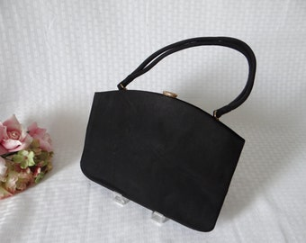 Bergdorf Goodman Black Twi-faille by Rosenfeld Purse Handbag - Classic Elegant Vintage Accessory