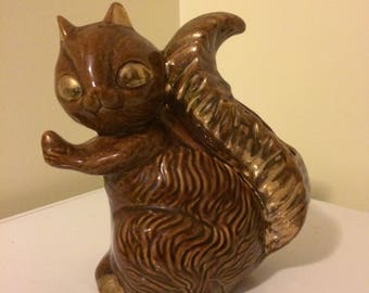 Squirrel planter, vintage brown and gold squirrel planter, large planter, squirrel figurine