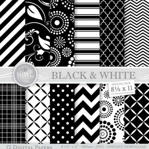 Black white digital paper black white printable pattern prints instant download 8 1 2 x 11 backgrounds scrapbook print from mninedesigns on etsy studio