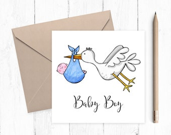 Baby Boy Stork Greeting Card - baby boy - baby card - new baby - birth announcement