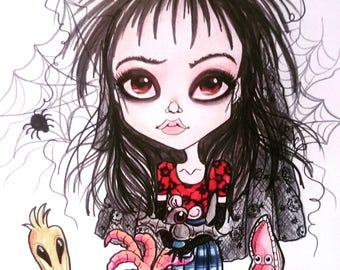 Lydia's Bake Sale Horror Fantasy Lowbrow Art Print by Leslie Mehl 8.5 X 11