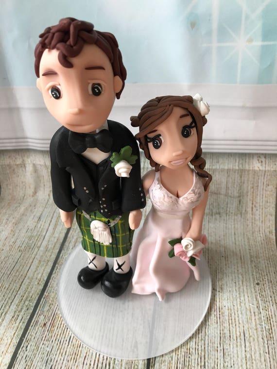 Fully personalised Scottish kilt cheeky clay Wedding Cake Topper highly detailed fully sculpted Keepsake - Bespoke Premium Service