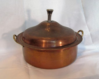 Copper Pot with Lid by Tagus made in Portugal / French Country Copper Pot