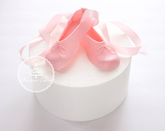 Ballet shoes fondant cake topper/ ballet slippers / pink ballet shoes / ballerina cake topper
