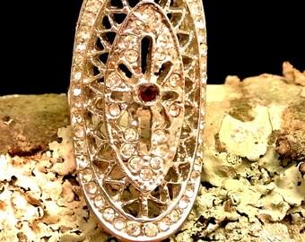 Rhinestone and Garnet Silver Tone Statement Ring Vintage Ring Size 6 Ring Fashion Ring Cocktail Ring Index Finger Ring