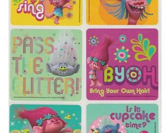 "25 Trolls Movie Characters Stickers, 2.5"" x 2.5"""