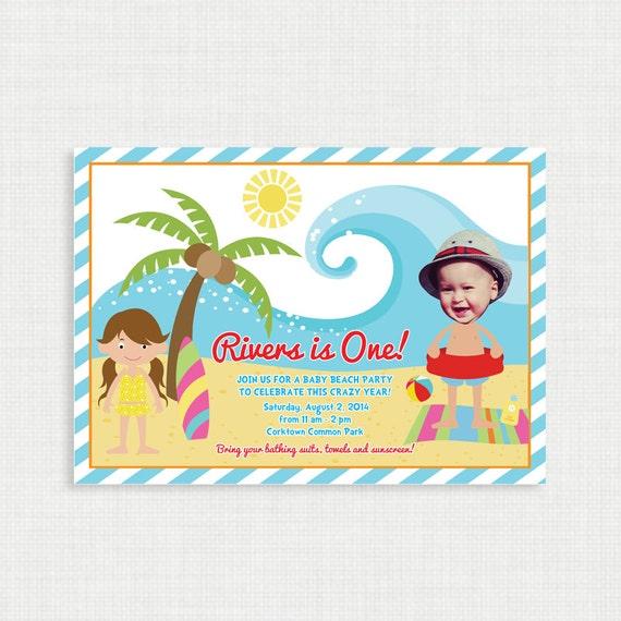 Printable Birthday Invitation- Beach Birthday Invitation - Customized design, customizable, Unisex Ocean Birthday Party