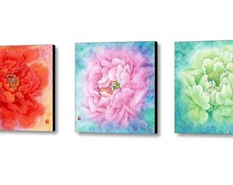 Watercolor Flower, Art Print, 3 Piece Wall Art, Canvas Art Print,  Flower Art, Flower Painting