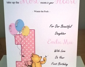 Handmade A5 Personalised Birthday Card WINNIE THE POOH Design