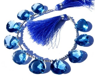 AAA London Blue Quartz Faceted Heart Briolettes Size 15x15mm Set of 10 Pcs 5 matched Pair Extremely Beautiful