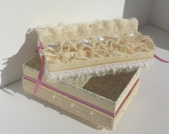 Handmade Lace & Pearl Keepsake Treasure Box for Jewelry or Memories, Beautiful Shabby Chic Trinket Box by FairyLace Designs