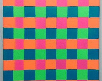 Fluorescent colour squares painting on canvas