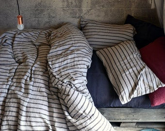 New Vintage Black Ticking stripe linen duvet cover/quilt cover/ doona cover by House of Baltic Linen. Pure linen bedding