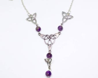 Celtic Necklace: Elowen (genuine Amethyst)
