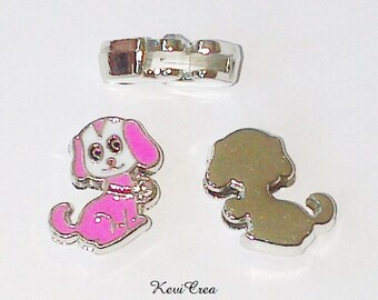 2 x pink enameled dog loops and rhinestone silver plated beads