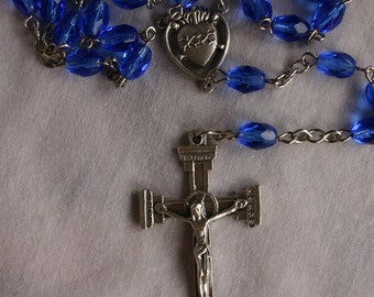Holy Rosary: Blue Oval Glass Beads,Sacred Heart Center