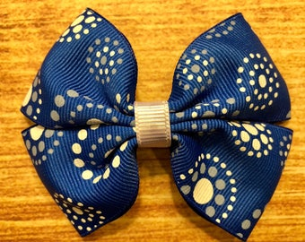 blue polka dot bow, blue bows, polka dot bows, paisley bows, hair bows, hair clips, girls hair bows, hair bows for girls, boutique bows