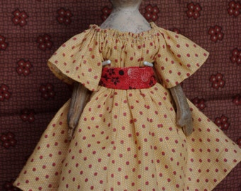 """PDF E pattern tutorial  9"""" paperclay over cloth doll by The Little Hamptons. Primitive antique Style."""