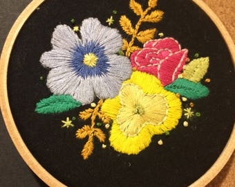 Floral Embroidery Hoop Art, Wall Decor, Textile Art, Handstitched, Gallery Wall