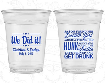 Found his Dream Girl, Found Her Hunk, Lets Get Drunk, Printed Disposable Cups, We Did It, Vintage Wedding, Soft Sided Cups (516)