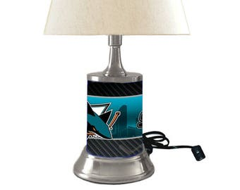Table Lamp with shade, San Jose Sharks plate rolled in on the lamp base