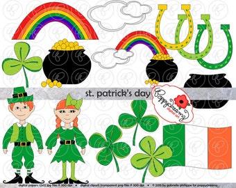 St. Patrick's Day Clipart Set (300 dpi) Leprechaun Pot of Gold Rainbow 4-Leaf Clover Horseshoe Ireland Flag St Patty's Day