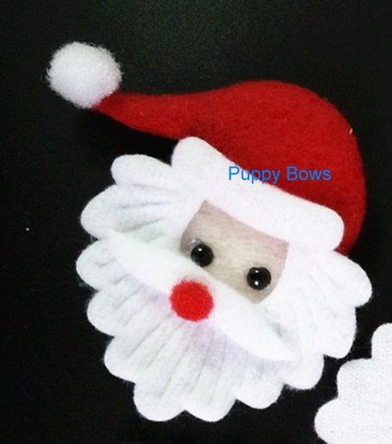 Puppy Bows ~ Santa Claus face DOG HAIR barrette ~ red Christmas bow