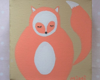 Barbouillette Fox - acrylic painting 3D canvas - beige and orange