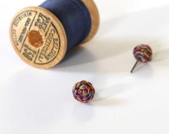 Braided Stud Earrings - Multicolored in Warm Tones - Red, Mustard, Purple, Brown & Copper - Handmade - Nickel Free Posts