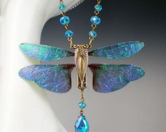 Cicada Necklace, Insect Necklace, Aqua Blue Necklace, Cicada Jewelry, Gift for Her, Cicada Pendant, Nature Lover Gift, Fairy Wings Necklace