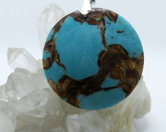 Turquoise With Gold Copper Bornite Medallion.