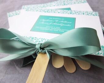 """Damask Fan Wedding Ceremony Programs, Destination Wedding, Aqua and Teal Beach Wedding Stationery - """"Elegant Damask"""" Fan Program - DEPOSIT"""