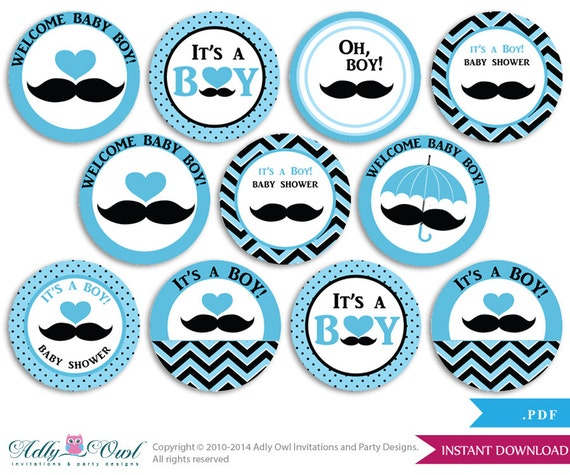 Captivating Boy Mustache Cupcake Toppers For Baby Shower Printable DIY