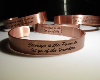 Custom Text Engraved Copper Cuff. Completely customized including one sided engraved option for two sided. Personalized jewelry.
