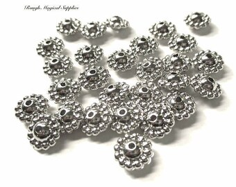 Silver Spacer Beads, 10mm Abacus Saucer Beads, Silver Tone Lucite Beads, 10mm x 5mm Puffed Petal Rondelles 28 Pieces  SP677