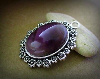 Amethyst Pendant | Cabochon Necklace | Stone Jewelry | Stone Necklace | Amethyst Jewelry | Purple Necklace | Purple Stone Necklace | DIY