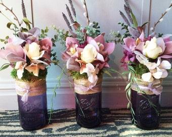 Set of 3 Purple Mason Jar Centerpieces