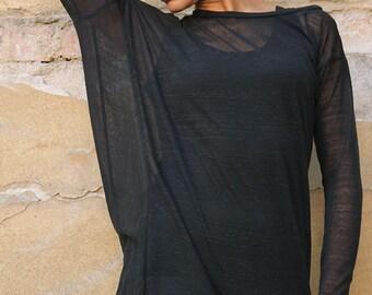 New, Black top/ extravagant tunic/asymmetric tunic, plus size tunic, - UM-057-CO