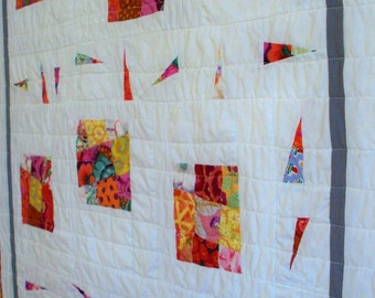 MODERN BRIGHT QUILT, 34 x 40 wonky nine patch for baby