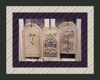 Haunted Halloween Tag Collection-Primitive Stitchery-E-PATTERN by Primitive Stitches-Instant Download