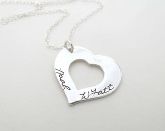 Personalized Heart Necklace - Kids Names - Custom Mothers Necklace - Grandma - Family - Son - Daughter - Anniversary - Personalized Jewelry