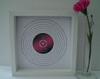 "George Michael 'Careless Whisper' 7"" Single Song Lyric Frame for Wedding Day, Anniversary, Our Song, Engagement, Record Art"