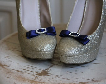 Wedding or Dress- Navy blue rhinestone buckle shoe clips
