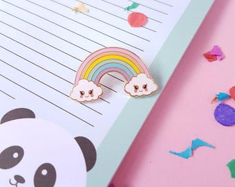 Rainbow pastel pin | Cloud pin | Whimsical pin | Cute kawaii pin | Colourful pin