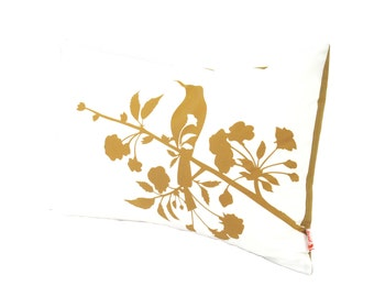Sale Golden Brown Print on White Blooming Blossom Rectangle Pillow