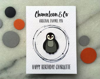 Personalised Penguin Enamel Pin, Cute Penguin Pin, Penguin Lapel Pin, Kids Enamel Pins, Penguin Gift, Penguin Stocking Filler, Penguin Badge