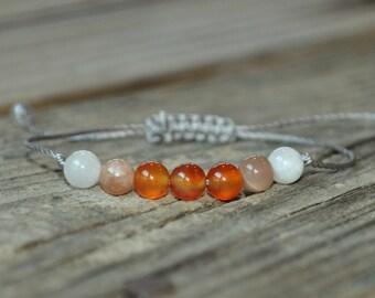 Carnelian Bracelet, Sunstone Bracelet, Moonstone Bracelet, Sacral Chakra Bracelet, Solar Plexus, Yoga Bracelet, Meditation, Fertility
