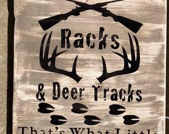 Rustic Nursery Sign // Rifles, Racks, & Deer Tracks // Country Baby Sign // Baby Boy