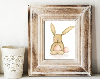 Giclee Art Print - Happy Bunny Watercolor - Animal Painting Print - Original Art by Angela Weber