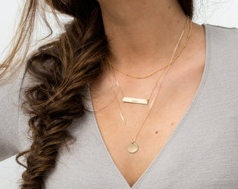Set 901 • Gold Bar Necklace, Layered Necklaces Set w/ Initial Necklace / Rose, Gold or Silver Personalized Bar / Layering Name Necklace Set